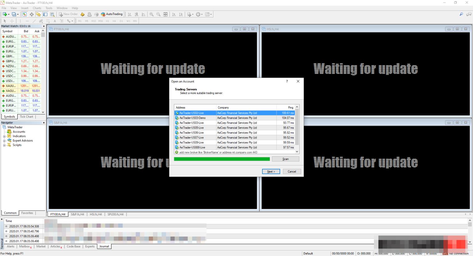 پنجره اصلی متاتریدر 4 پس از باز کردن نرم افزار